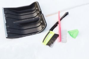 25851258 - winter and equipment concept - variety of snow cleaning equipment on snow