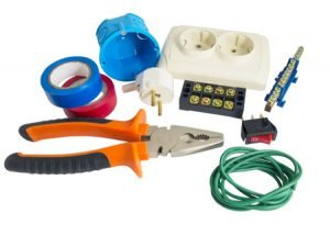 36613944 - electrician tools, cable, box for installation of sockets and disassembled outlet before installing