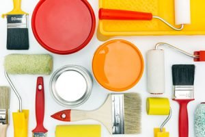 39893886 - various painting tools and accessories for home renovation on white background